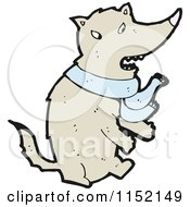 Cartoon Of A Wolf Wearing A Scarf Royalty Free Vector Illustration by lineartestpilot