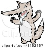 Cartoon Of A Wolf Drooling Royalty Free Vector Illustration by lineartestpilot