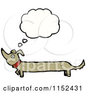 Cartoon Of A Thinking Dachshund Dog Royalty Free Vector Illustration