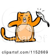 Cartoon Of A Ginger Cat Holding A Mouse Royalty Free Vector Illustration