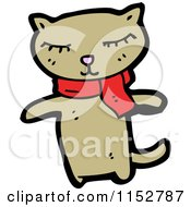 Cartoon Of A Cat Wearing A Scarf Royalty Free Vector Illustration