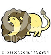 Cartoon Of A Roaring Male Lion Royalty Free Vector Illustration