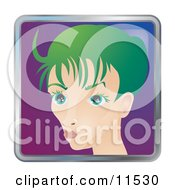 People Internet Messenger Avatar Of A Skinny Young Woman With Green Hair Clipart Illustration