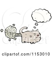 Cartoon Of A Thinking Farting Cat Royalty Free Vector Illustration by lineartestpilot