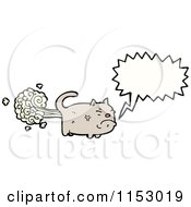 Cartoon Of A Talking Farting Cat Royalty Free Vector Illustration by lineartestpilot