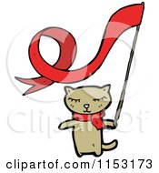 Cartoon Of A Cat With A Ribbon Flag Royalty Free Vector Illustration by lineartestpilot