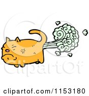 Cartoon Of A Ginger Cat Farting Royalty Free Vector Illustration by lineartestpilot