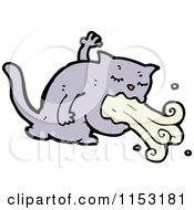 Cartoon Of A Cat Puking Royalty Free Vector Illustration by lineartestpilot