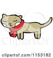 Cartoon Of A Cat Wearing A Scarf Royalty Free Vector Illustration by lineartestpilot