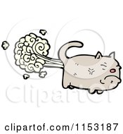 Cartoon Of A Cat Farting Royalty Free Vector Illustration by lineartestpilot