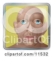 People Internet Messenger Avatar Of A Young Muscular Bald Man Clipart Illustration