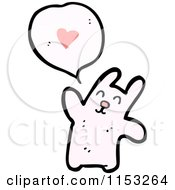 Cartoon Of A Pink Rabbit Talking About Love Royalty Free Vector Illustration