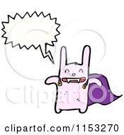 Cartoon Of A Talking Pink Super Rabbit Royalty Free Vector Illustration