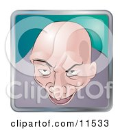 People Internet Messenger Avatar Of A Creepy Bald Man Clipart Illustration