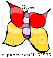 Cartoon Of A Butterfly Royalty Free Vector Illustration by lineartestpilot