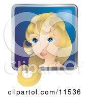 People Internet Messenger Avatar Of A Pretty Woman With Blond Hair And Blue Eyes Clipart Illustration