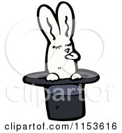 Cartoon Of A White Rabbit In A Magic Hat Royalty Free Vector Illustration