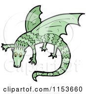 Cartoon Of A Green Dragon Royalty Free Vector Illustration by lineartestpilot