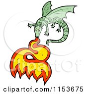 Cartoon Of A Green Fire Breathing Dragon Royalty Free Vector Illustration