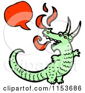 Cartoon Of A Talking Green Dragon Royalty Free Vector Illustration