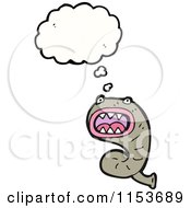 Cartoon Of A Thinking Leech Royalty Free Vector Illustration by lineartestpilot