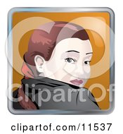 People Internet Messenger Avatar Of A Young Caucasian Woman Looking Back Over Her Shoulder Clipart Illustration by AtStockIllustration