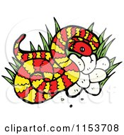 Cartoon Of A Red Snake With Eggs Royalty Free Vector Illustration