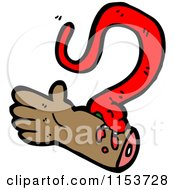 Cartoon Of A Red Snake Biting A Hand Royalty Free Vector Illustration