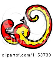 Cartoon Of A Red Snake Royalty Free Vector Illustration