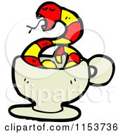Cartoon Of A Red Snake In A Cup Royalty Free Vector Illustration by lineartestpilot