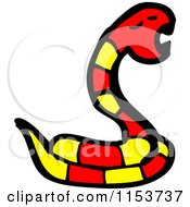 Cartoon Of A Red Snake Royalty Free Vector Illustration by lineartestpilot