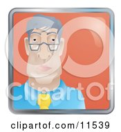 People Internet Messenger Avatar Of A Bored Businessman Wearing Glasses
