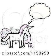 Cartoon Of A Thinking Unicorn Royalty Free Vector Illustration