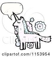 Cartoon Of A Talking Unicorn Royalty Free Vector Illustration