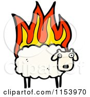 Cartoon Of A Sheep On Fire Royalty Free Vector Illustration by lineartestpilot