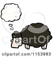 Cartoon Of A Thinking Black Sheep Royalty Free Vector Illustration