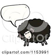 Cartoon Of A Talking Black Sheep Royalty Free Vector Illustration