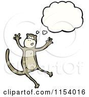 Cartoon Of A Thinking Monkey Royalty Free Vector Illustration