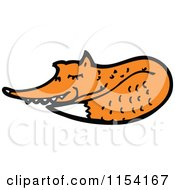 Cartoon Of A Resting Fox Royalty Free Vector Illustration by lineartestpilot