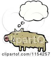 Cartoon Of A Thinking Pig Royalty Free Vector Illustration by lineartestpilot