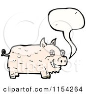 Cartoon Of A Talking Pig Royalty Free Vector Illustration by lineartestpilot