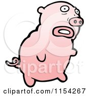 Cartoon Of A Pink Pig Royalty Free Vector Illustration by lineartestpilot