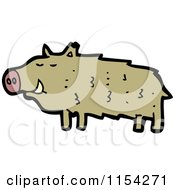 Cartoon Of A Boar Pig Royalty Free Vector Illustration by lineartestpilot