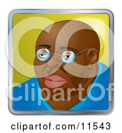 People Internet Messenger Avatar Of A Bald African American Man Wearing Glasses Clipart Illustration by AtStockIllustration