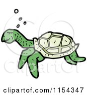 Cartoon Of A Swimming Sea Turtle Royalty Free Vector Illustration