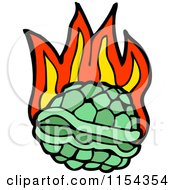 Cartoon Of A Flaming Green Turtle Shell Royalty Free Vector Illustration by lineartestpilot