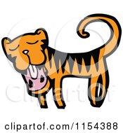 Cartoon Of A Yawning Tiger Royalty Free Vector Illustration