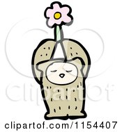 Cartoon Of A Bear Holding Up A Flower Royalty Free Vector Illustration by lineartestpilot
