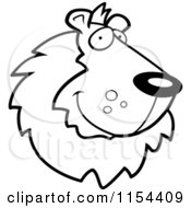 Cartoon Clipart Of A Black And White Handsome Lion Face Vector Outlined Coloring Page
