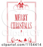 Clipart Of A Red Santa And Winter Border With Merry Christmas Text Royalty Free Vector Illustration